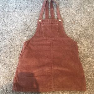 NEW Forever 21 Pink Corduroy Overall Dress Medium